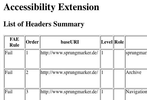 Screenshot Accessibility Extension: Zusammenfassung  der Überschriften
