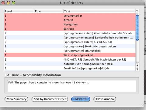 Screenshot Accessibility Extension: Liste der Überschriften im neuen Fenster