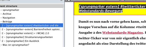 Screenshot HeadingsMap: Überschriftenanwahl