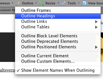 Screenshot Web Developer Toolbar Option Outline Heading