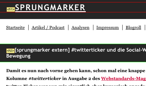 Screenshot Web Developer Toolbar: Überschriften-Hervorhebung