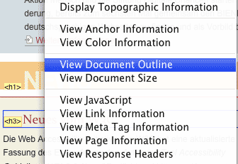 Screenshot Webdeveloper Toolbar - Menüoption Outline