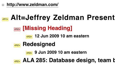 Zeldman.com - Hierarchie der Überschriften