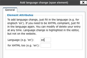 Screenshot: Popup add language change