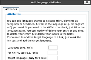 Screenshot: Popup add language change for block elements
