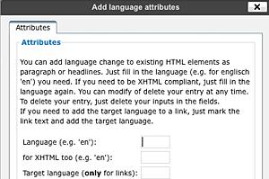 Screenshot: Popup add language change for block elements