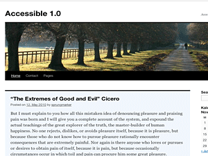 Screenshot Accessible 1.0 child theme for Twenty Ten