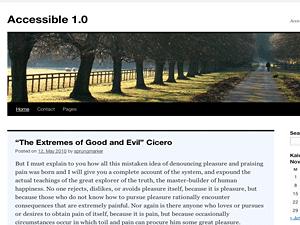 Screenshot Accessible 1.0 child theme for Twenty Ten