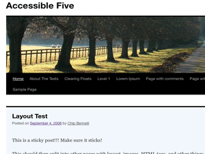 Screenshot Accessible Five child theme for TwentyTenFive