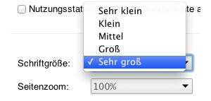 Screenshot Auswahl reine Textvergrößerung in den Einstellungen von Chrome