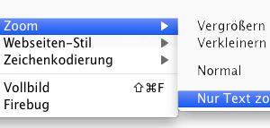Screenshot Auswahl der reinen Textvergrößerung in Firefox
