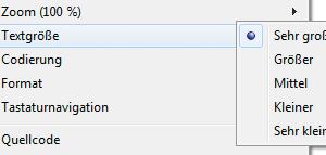 Screenshot Einstellung reine Textvergrößerung im IE 9