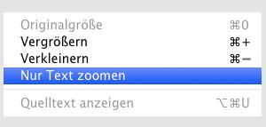Screenshot Auswahl reine Textvergrößerung in Safari