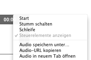 Screenshot: Audio Kontextmenü Chrome