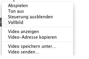 Screenshot: Video Kontextmenü Firefox