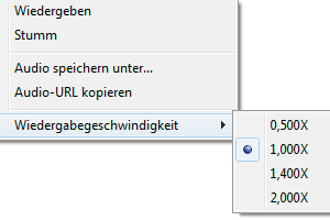 Screenshot: IE 9 Kontextmenü Audio