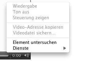 Screenshot: Kontextmenü Opera Video